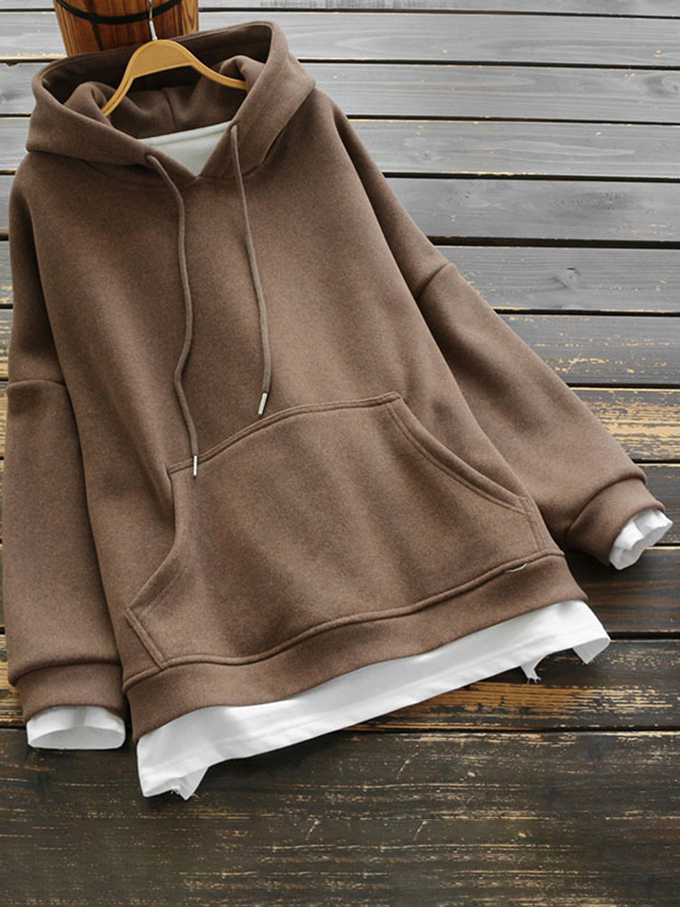 Eachine1 / Baumwolle Zweiteiler Splice Thicken Hooded Sweatshirt