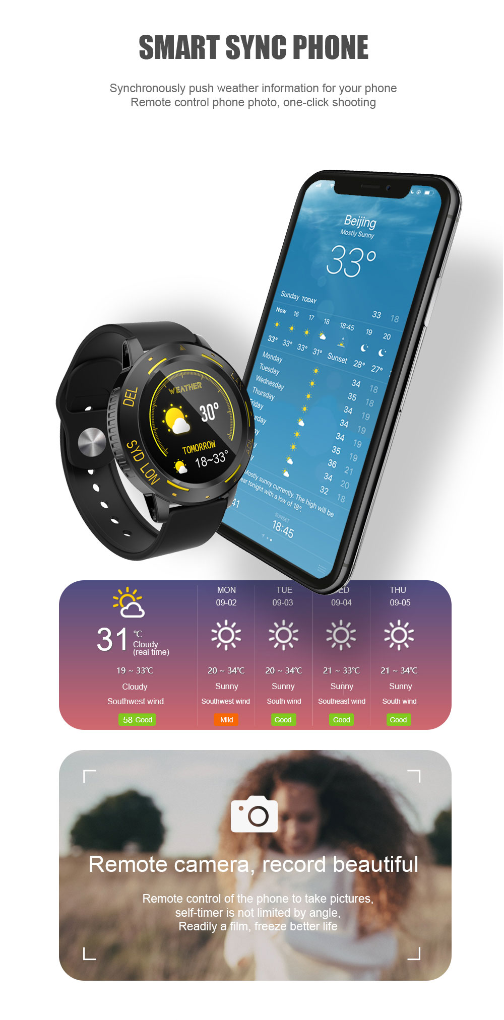 Bakeey C68 Full Touch Fitness Tracker Wristband Heart Rate Blood Pressure Monitor Weather Display Smart Watch