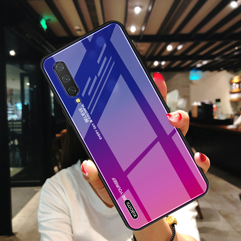 For Xiaomi Mi 9 Lite Case / Xiaomi CC9 Case Bakeey Gradient Color Tempered Glass + Soft TPU Back Cover Protective Case