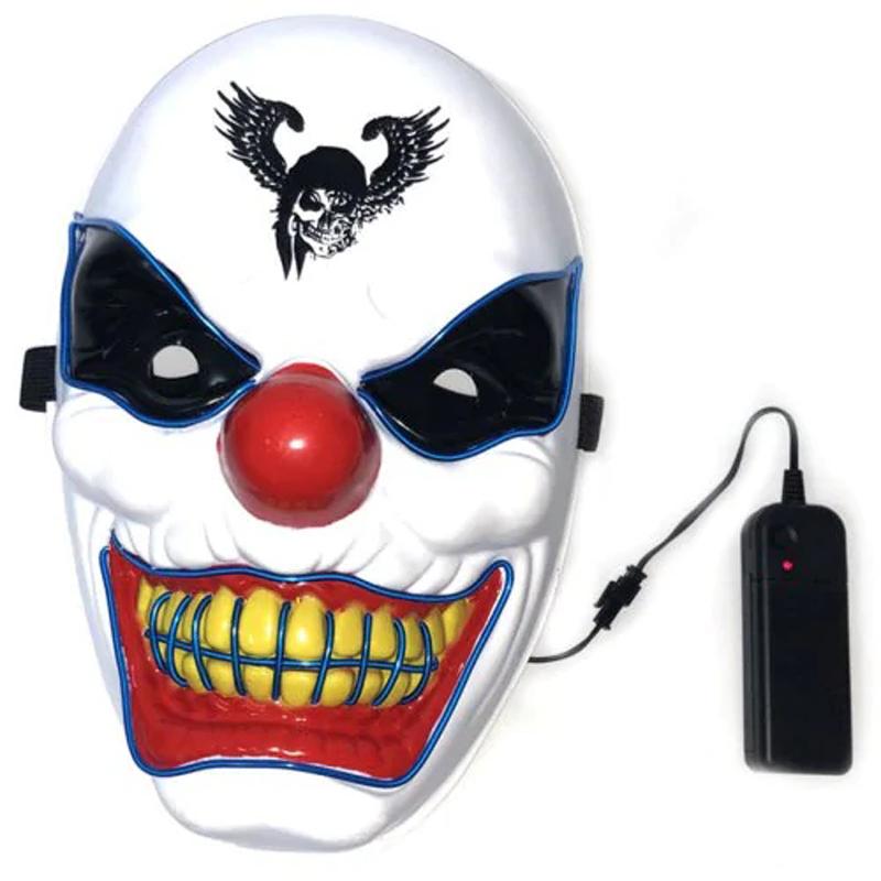 Хэллоуин Клоун LED Glow Маска Фестиваль Поставок Реквизит Страшно Эль Освещение Маска для Украшения