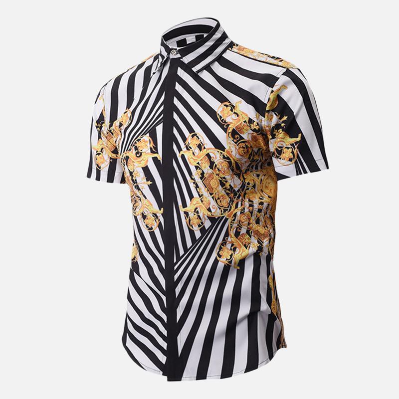 Мужская 3D Печатная Тонкий Рубашка