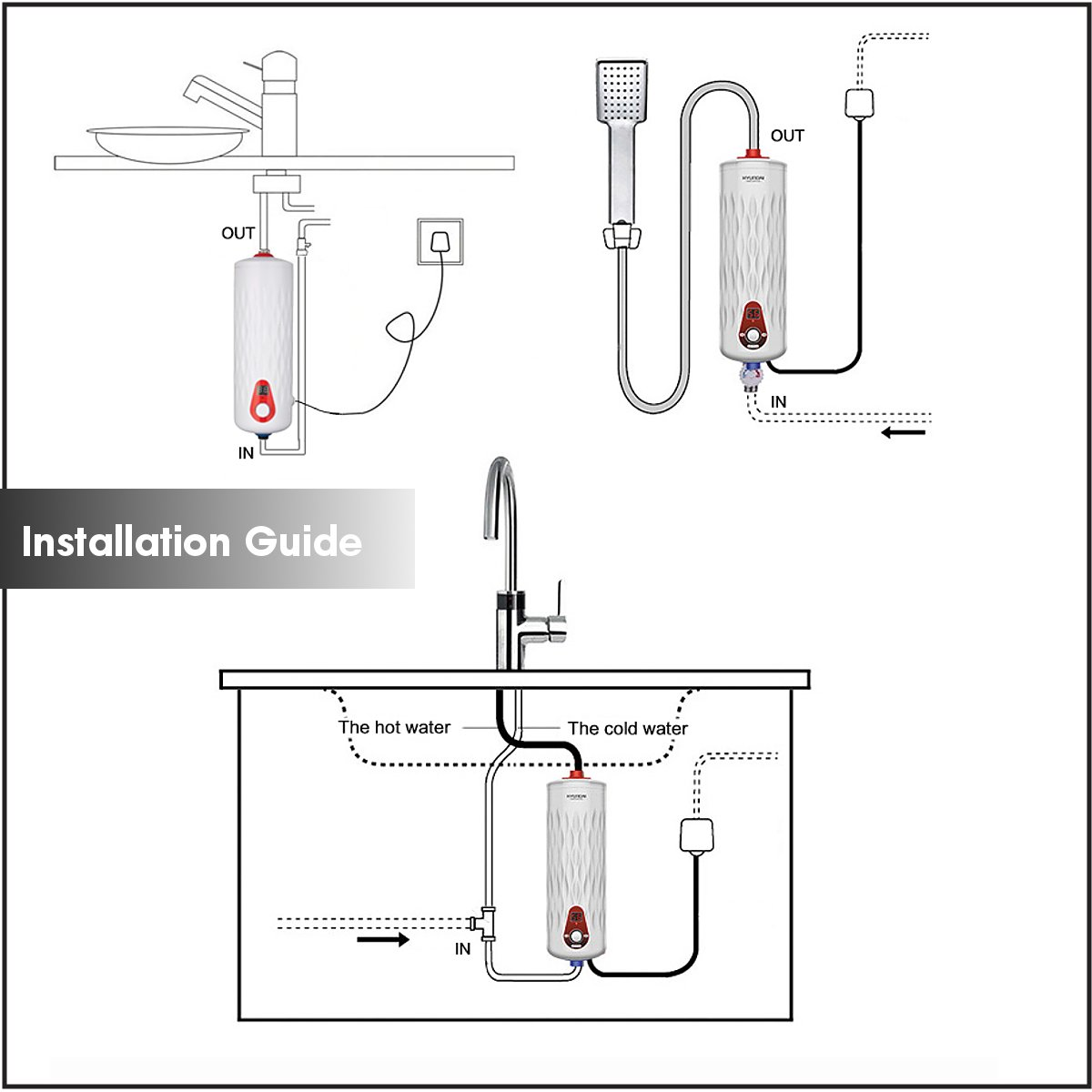 6500W Tankless Instant Electric Hot Water Heater Set Kitchen Bathroom Shower Heater 21