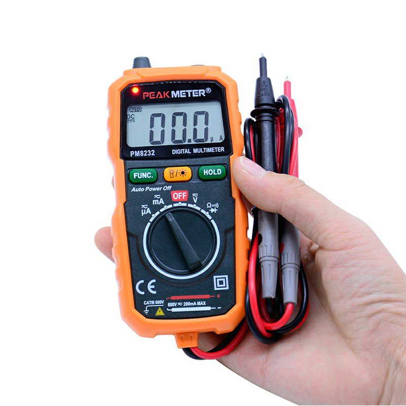 PEAKMETER PM8232 Non-Contact Mini Digital Multimeter DC AC Voltage Current Tester Data Hold Ammeter Portable Voltage Meter