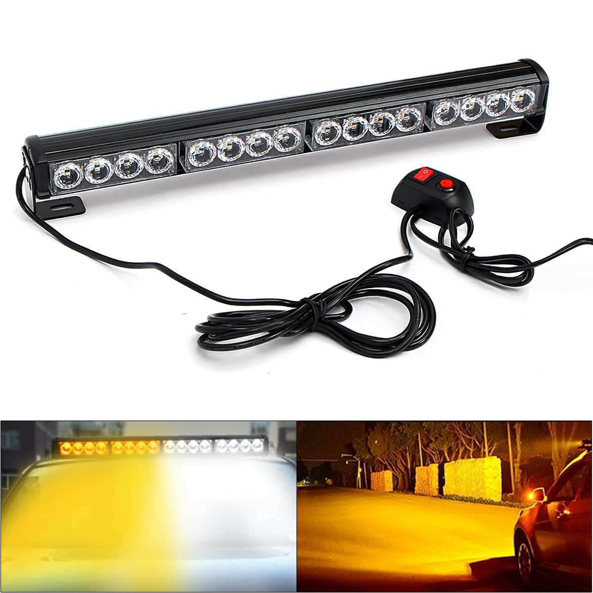28 LED Emergency Traffic Advisor Hazard Flash Strobe Light Bar White /& Amber