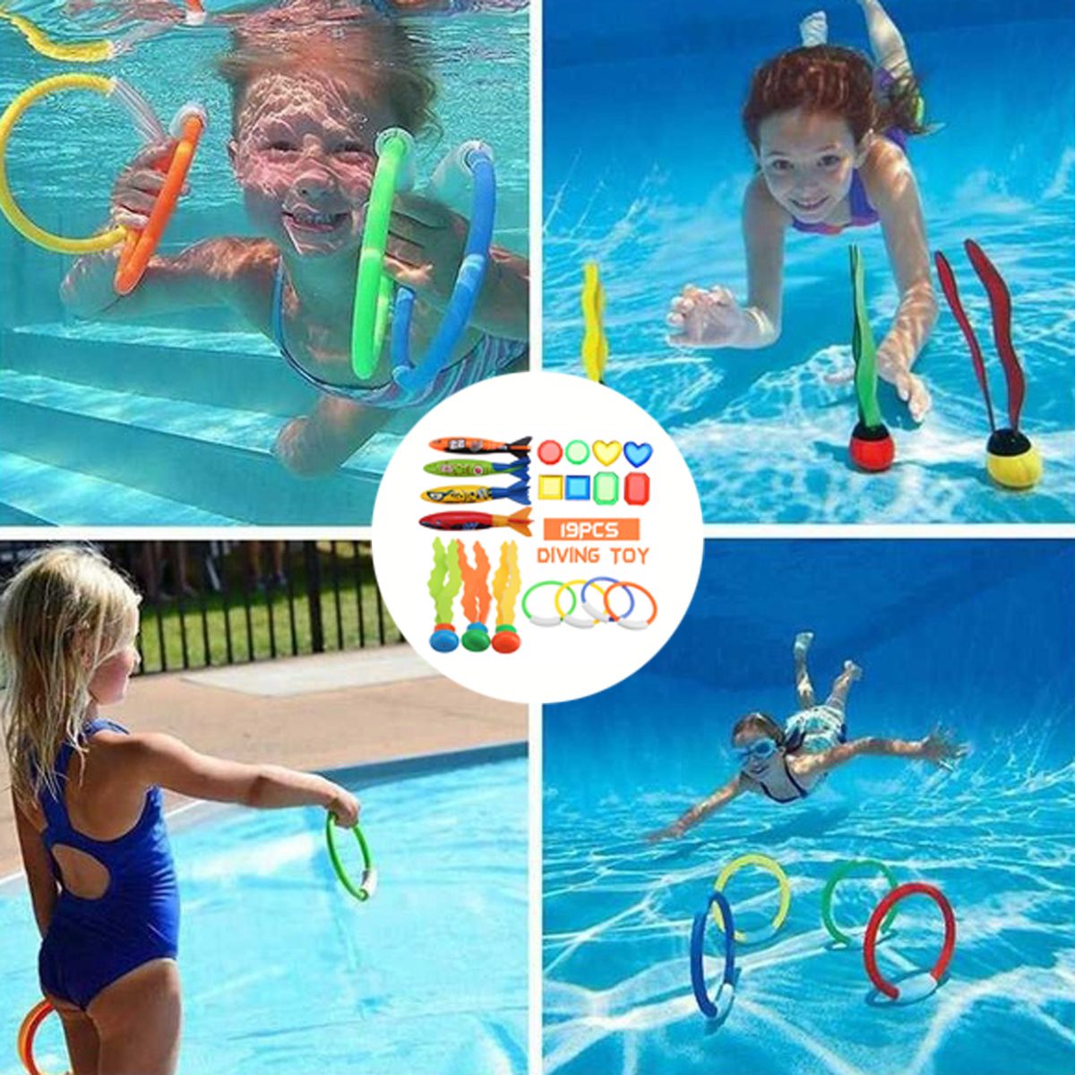19PCS Swimming Pool Underwater Diving Toys Water Play Toys for Kids 12