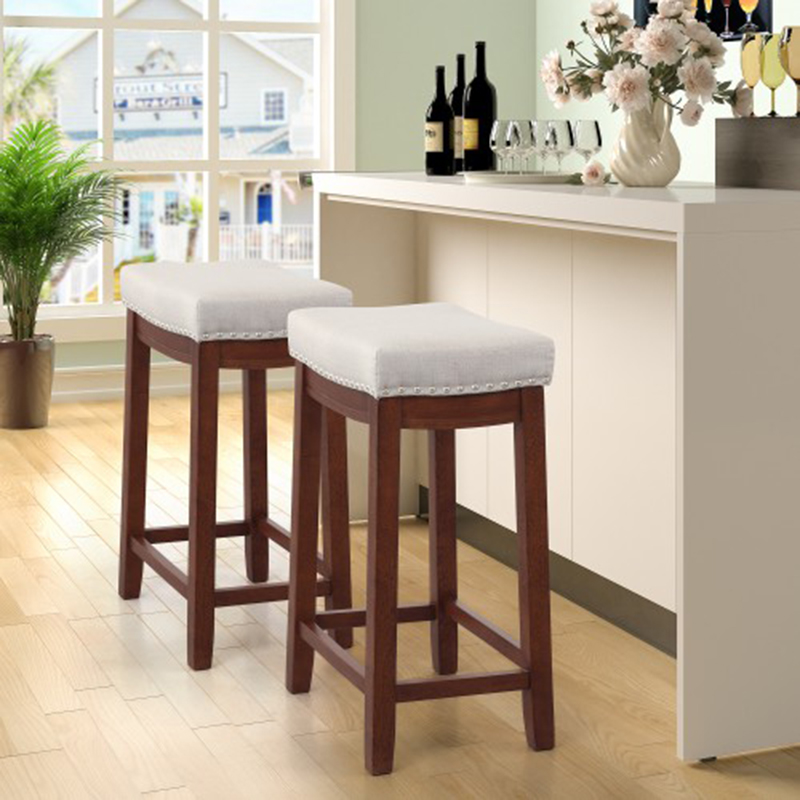 Fantastic 2Pcs 1Set Kitchen Backless Linen Counter Height Stools With Nailhead Studs Dining Wooden Chair Coffee Bar Stools Pub Stools Creativecarmelina Interior Chair Design Creativecarmelinacom