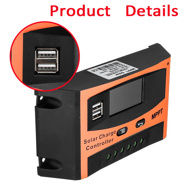 30A/40A/50A/60A MPPT Solar Charge Controller 12V/24V LCD Accuracy Dual USB Solar Panel Battery Regulator Built-in Timer 24