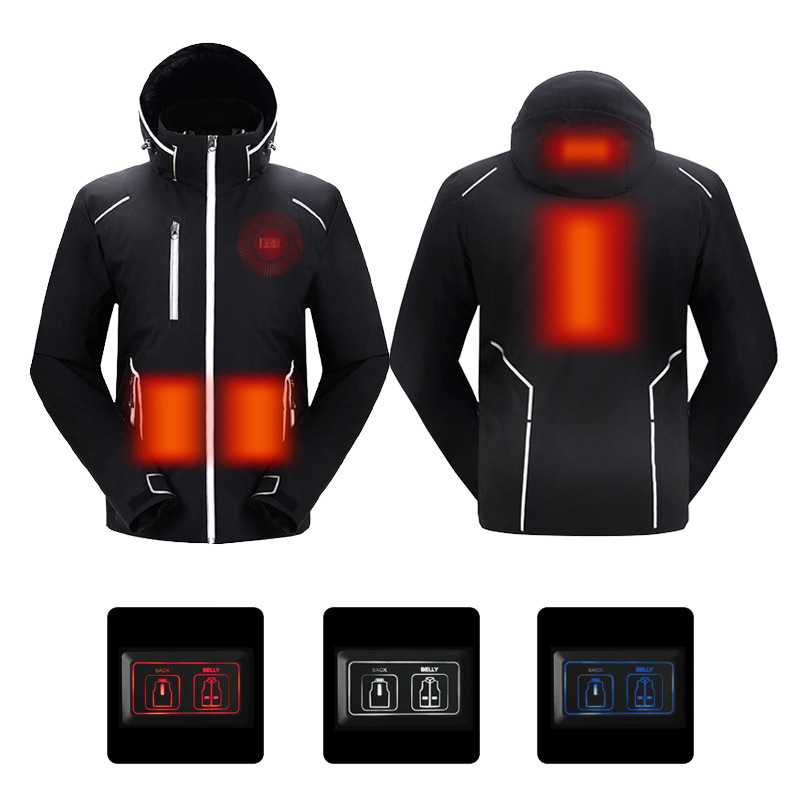 TENGOO USB Electric Charging Smart Heating Cotton Jacket 3 Modes 2 Control Winter Warm Heating Coats