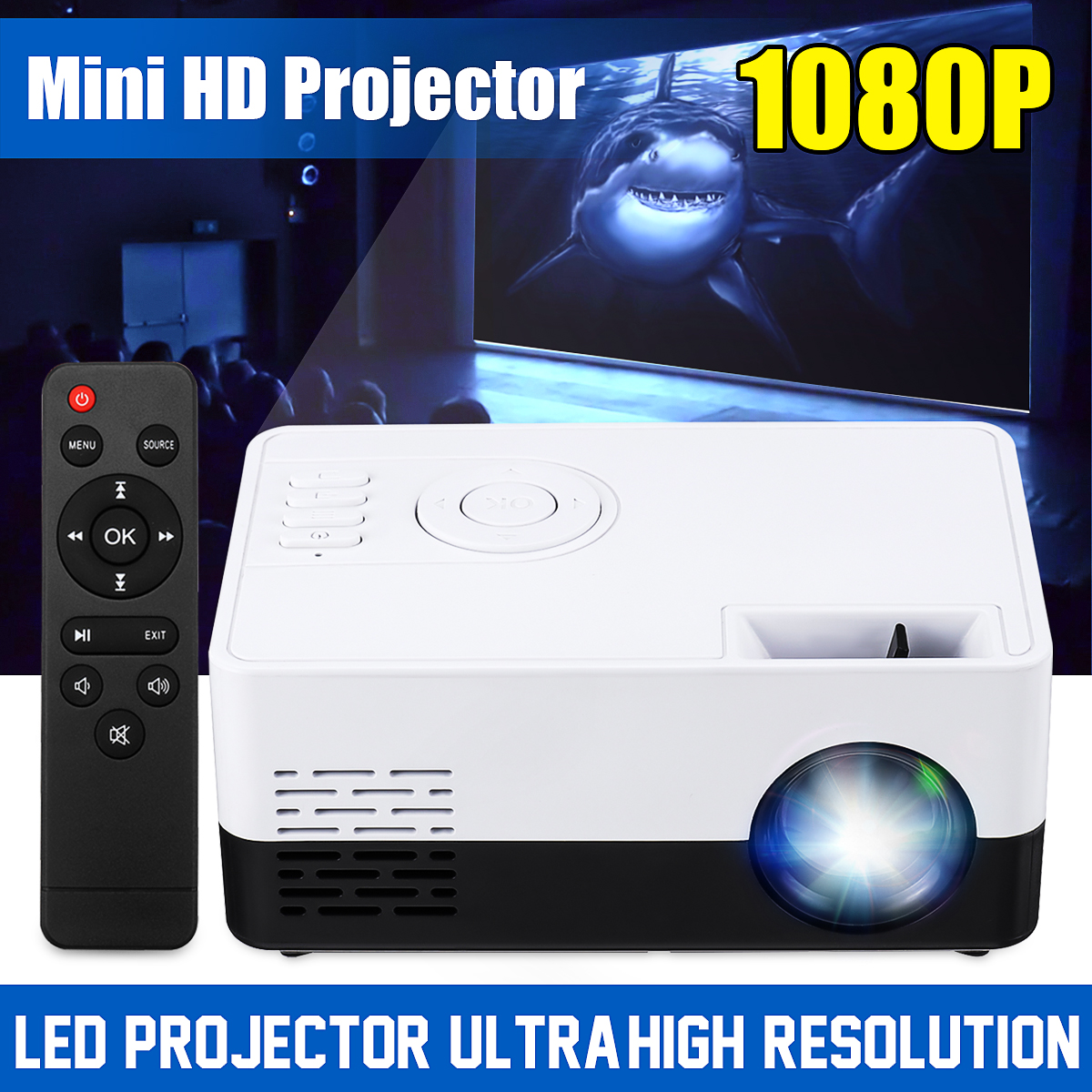 J9A Mini LED Projector 1080P Portable Pocket 3D HD Home Cinema Theater HDMI/USB/SD