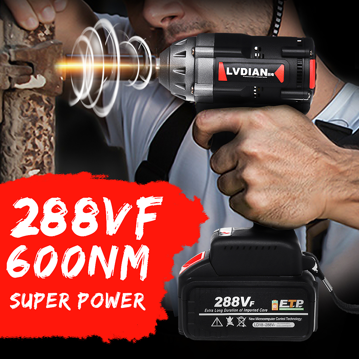 288VF 600N.M Max Brushless Impact Wrench Li-ion Battery Brushless Motor Electric Wrench Power Tool With Charger Sleeve