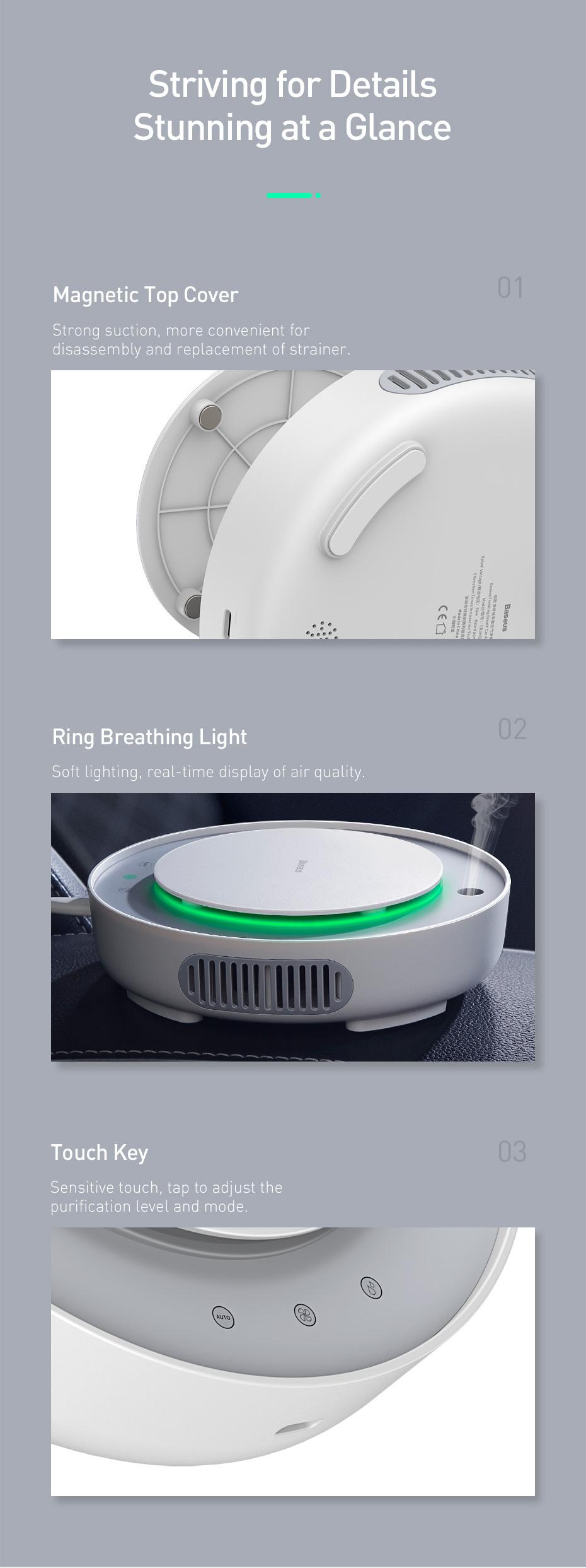 Baseus Car Air Purifier Freshener Mini Electric Auto Air Ionizer Cleaner Humidifier For Home Office Car Vaporizer Air Fresher 23