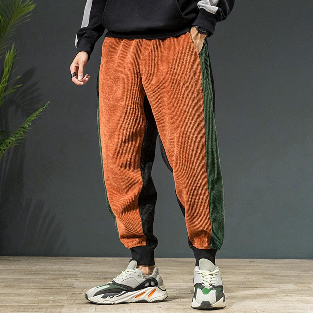 Mens Corduroy Vintage Pure Color Elastic Waist Casual Pants