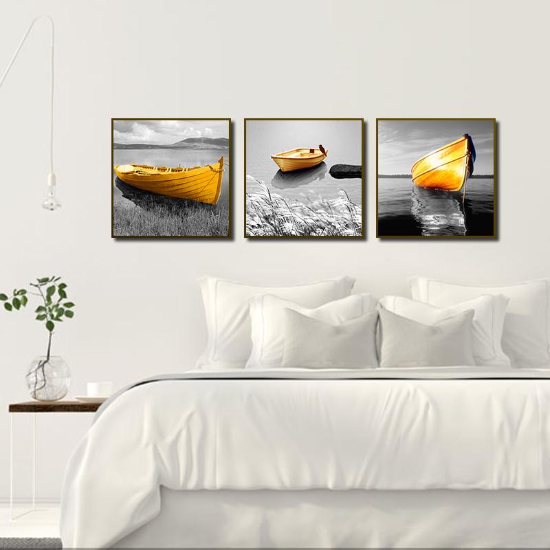 Miico ручная роспись три комбинации декоративной живописи желтый Лодка стены искусства для украшения дома