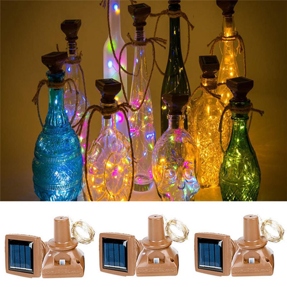 Открытый 1M 10LED Квадратная Бутылка Корк Медь Провод Волшебный свет Фея Солнечная Питание Рождество Праздничная вечеринка Лампа