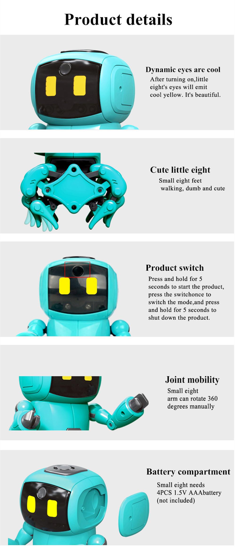 Mofun 962 DIY STEAM 8-Legged Smart RC Robot Gesture Sensing Infrared Following Obstacle Avoidance Assembled Robot Toy