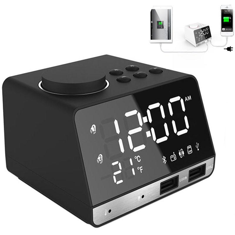 MOZUO K11 Bluetooth Speaker Alarm Clock USB Charging for Phone Portable FM Radio