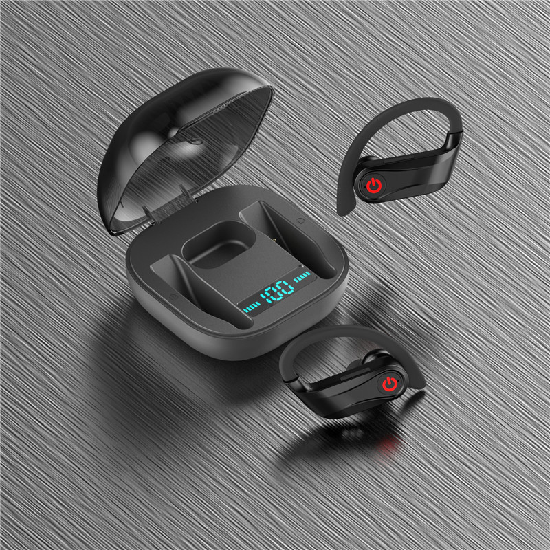 Q62 TWS bluetooth 5.0 Wireless Stereo Hanging Earphone Three Power Display Volume Control Sports Headphones for Xiaomi