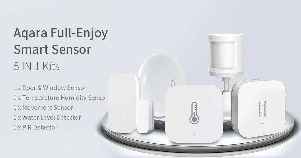 Original Aqara Full-Enjoy Smart WIFI Wireless Sensor Kits Temperature  Humidity Monitor PIR Door Window Sensor Vibration Sensor Water Level  Detector