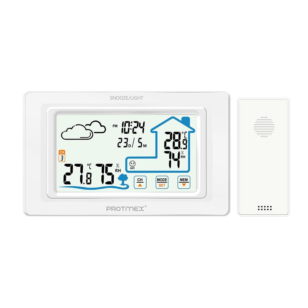Sveglia elettronica multifunzione per previsioni del tempo con termoigrometro touch screen