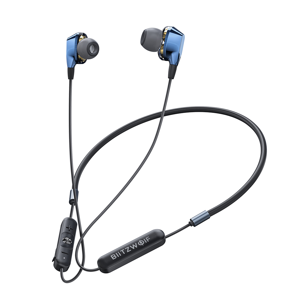 BlitzWolf® BW-BTS4 bluetooth 5.0 Earphone Wireless Neckband Dual Dynamic Driver Magnetic Sports Headphone with Mic