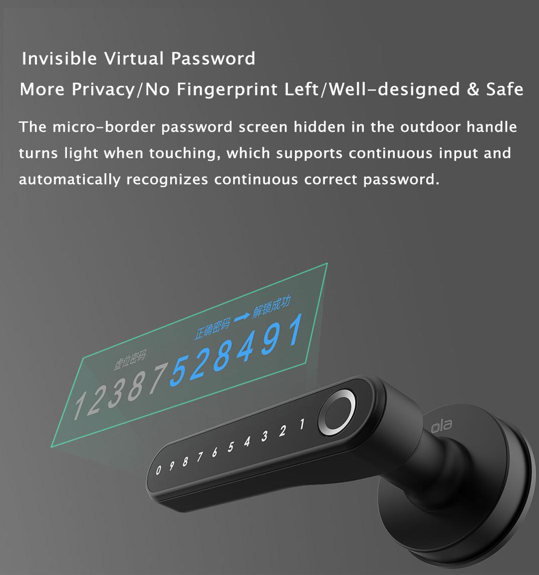 Ola Intelligent 35-55mm Thickness Wooden Door Lock Fingerprint Password Lock Separated Integrated Type Bluetooth USB Connection Works with Mijia APP from Xiaomi Youpin