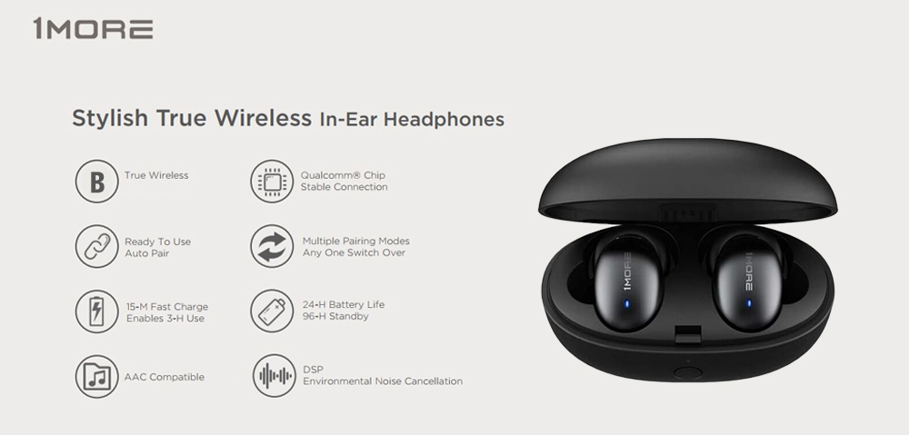 1More E1026BT TWS bluetooth 5.0 Earphone HiFi AAC Bilateral Call DSP Noise Cancelling Headphone with Charging Box from Xiaomi Eco-System 15
