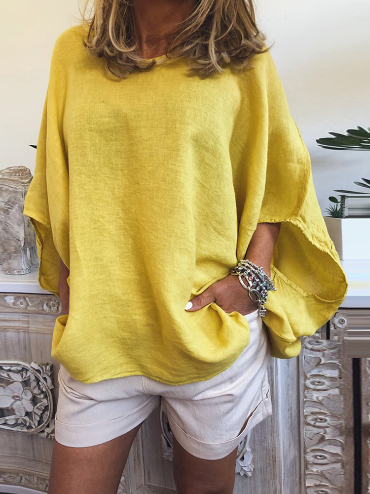 Plus size Solid Color Breathable Batwing Sleeve Loose B