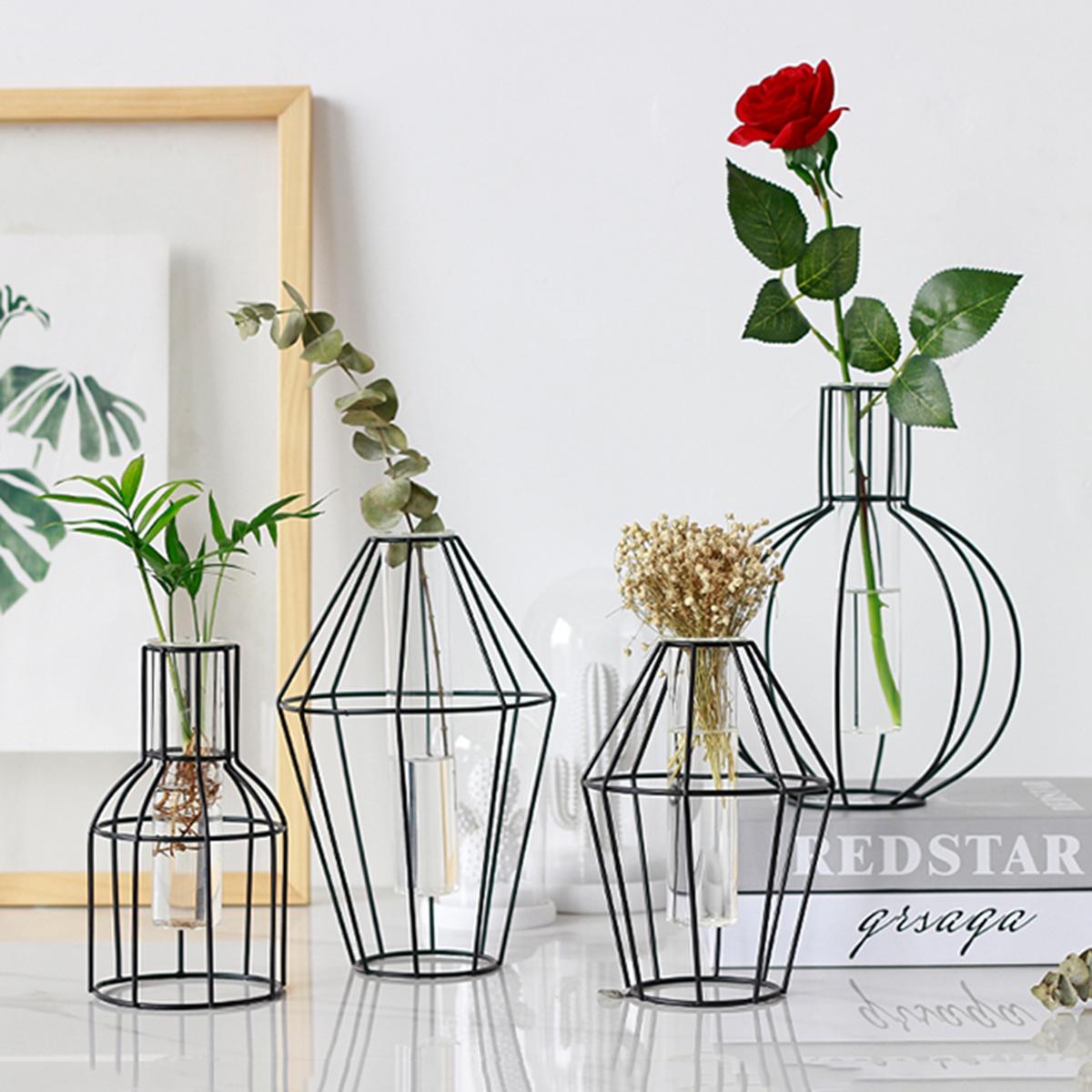 3D Nordic Metal Ваза Стекло Трубка Гидропоника Растение Контейнер Украшения Home Decor