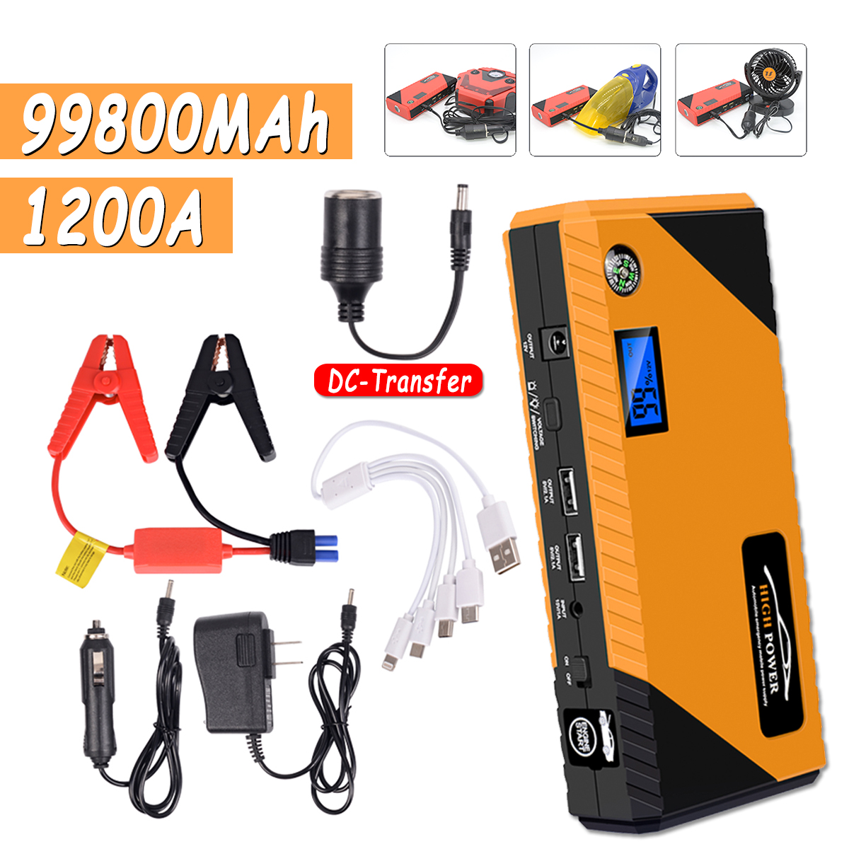 JX31 Display 98600mAh 12V Car Jump Starter Portable USB Emergency Power Bank Battery Booster Clamp 1000A DC Port Yellow