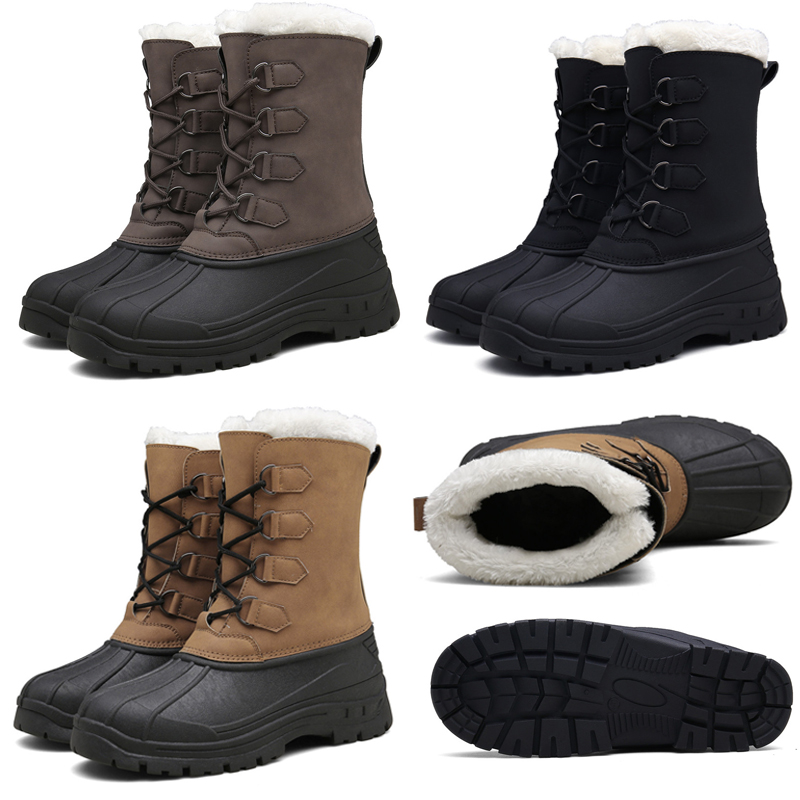 Men's Winter Snow Fashion Boots Shoes Casual Lace Up Soft Warm Increased