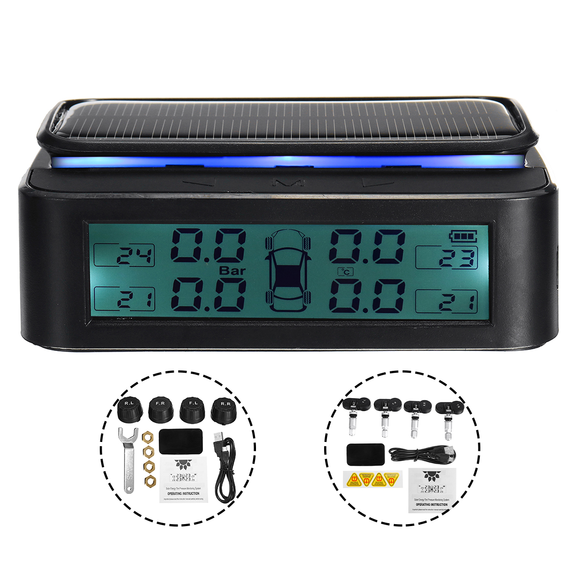USB Charging Wireless Solar TPMS Car Tire Tyre Pressure Monitor System Internal/External Sensors