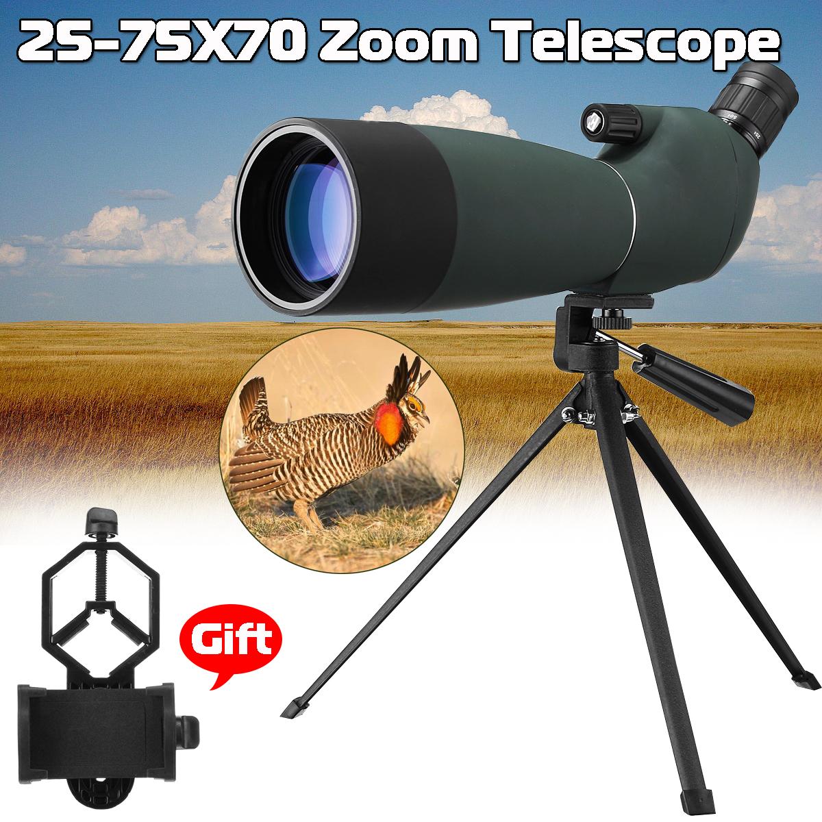 LUXUN 25-75X70  HD Waterproof BAK4 Optic Zoom Len Monocular Telescope