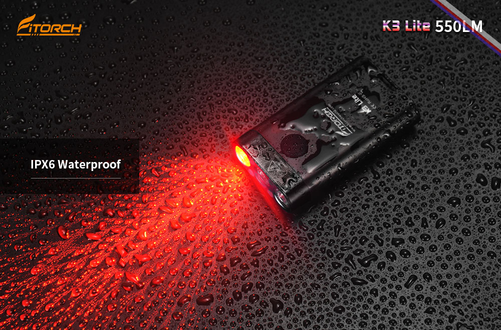 Fitorch K3 Lite 3 LED 550lm USB Rechargeable Mini LED Keychain Light IPX6 Waterproof EDC Flashlight