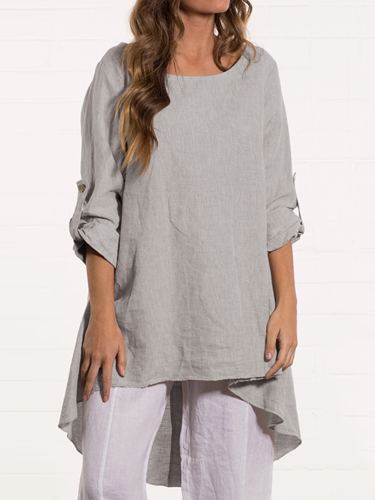 Women Crew Neck Loose Causal Solid Blouse