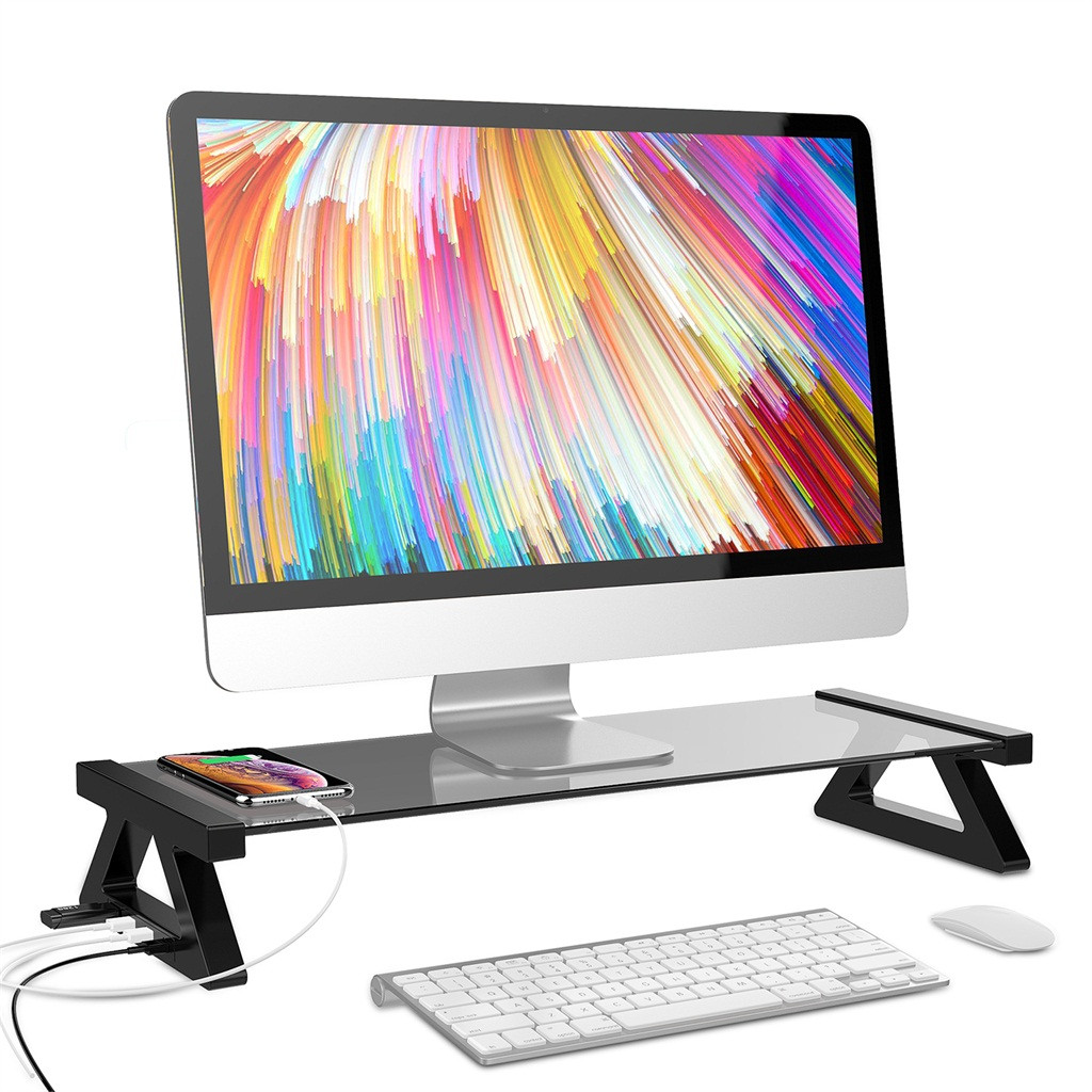 Aluminium Alloy Monitor Laptop Stand with 4 USB Ports 2