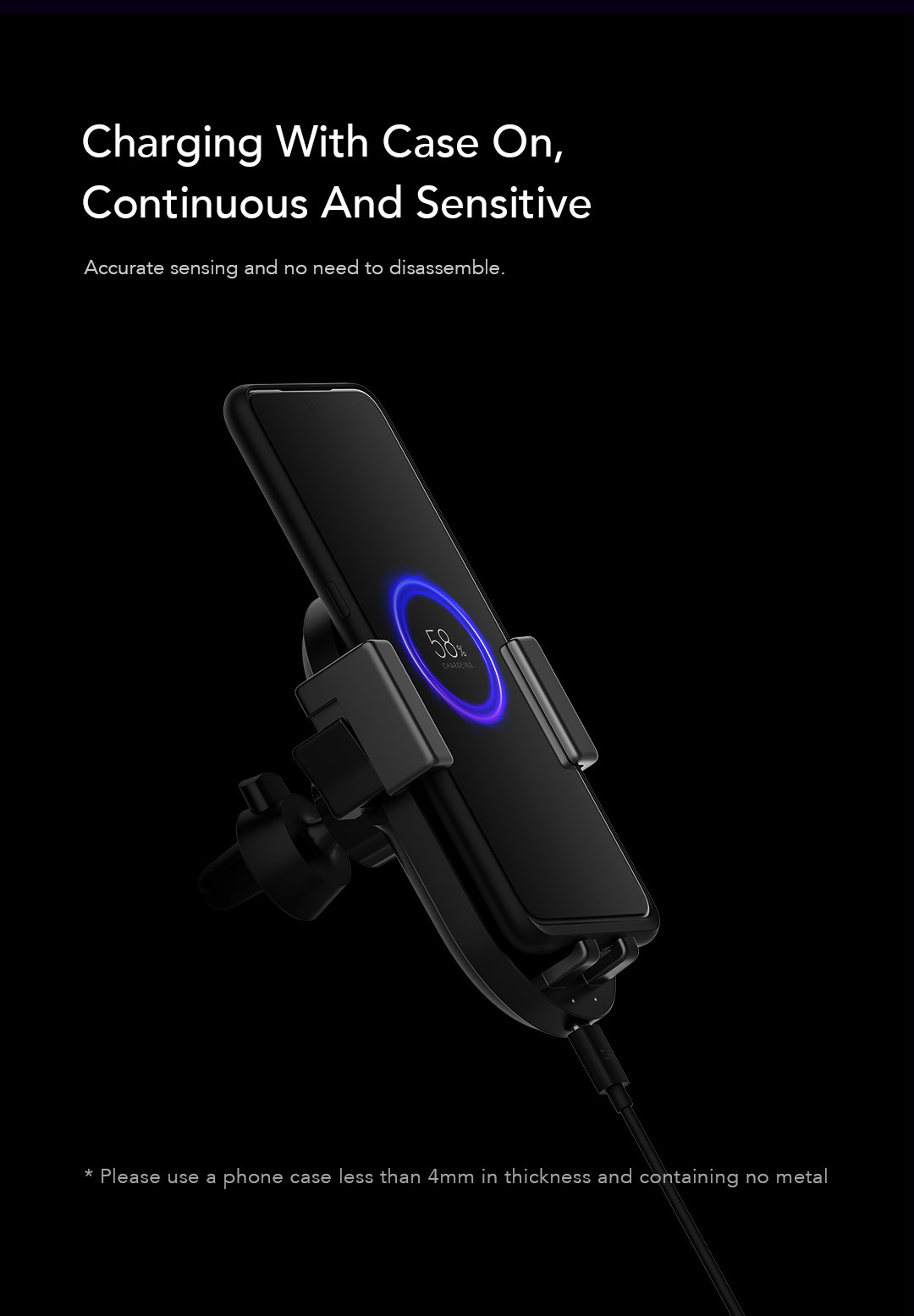 ZMI WCJ10 20W Qi Wireless Car Charger with Car Charger Fast Charging Phone Holder for iPhone X for Samsung Xiaomi Huawei