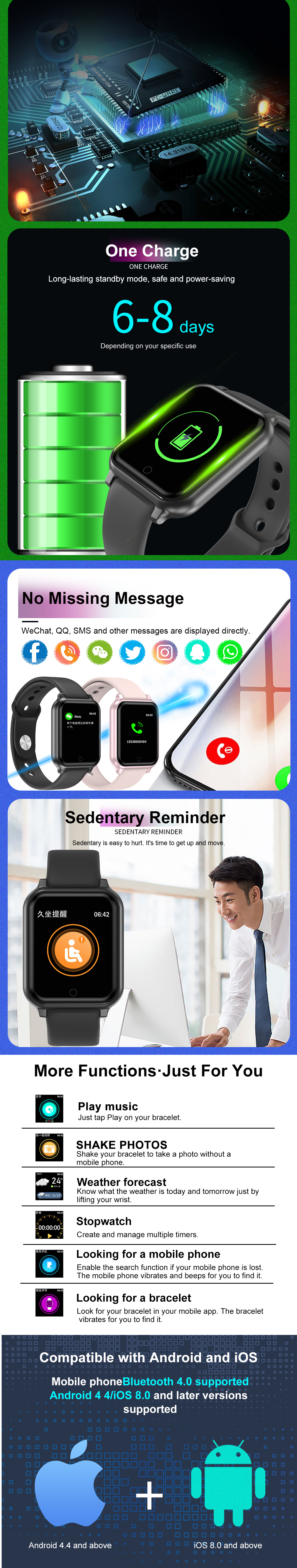 Bakeey T70 Metal Bezel Blood Pressure O2 GPS Motion Track SMS Reminder Music Control Smart Watch
