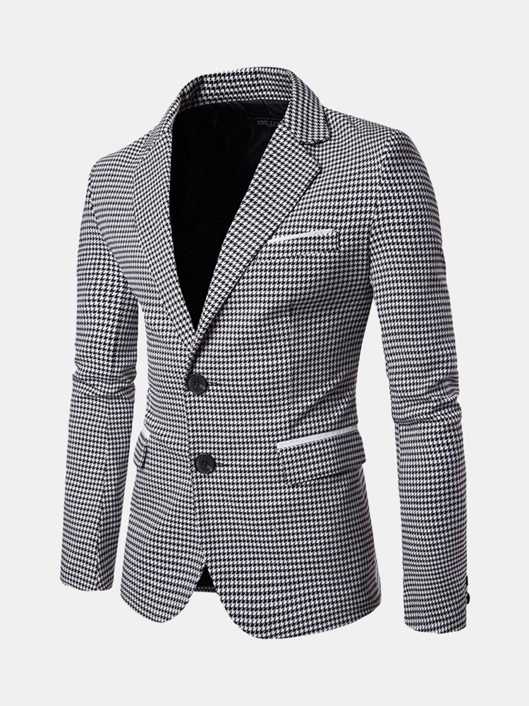 Мужская деловая повседневная куртка в клетку Тонкий