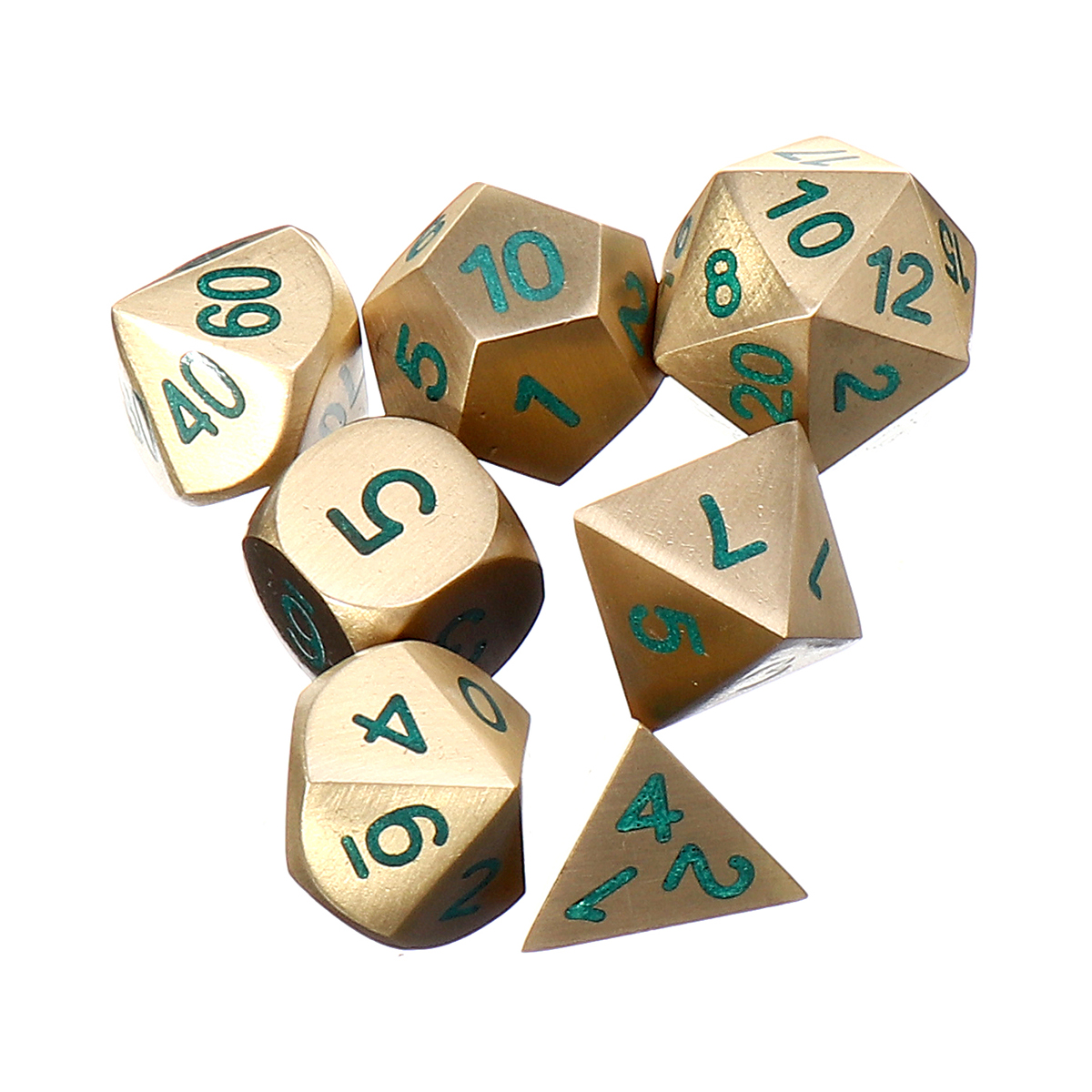 7PCS Metal Polyhedral Dice D4-D20 for Dungeons and Dragons Game/&Dice Cup #5