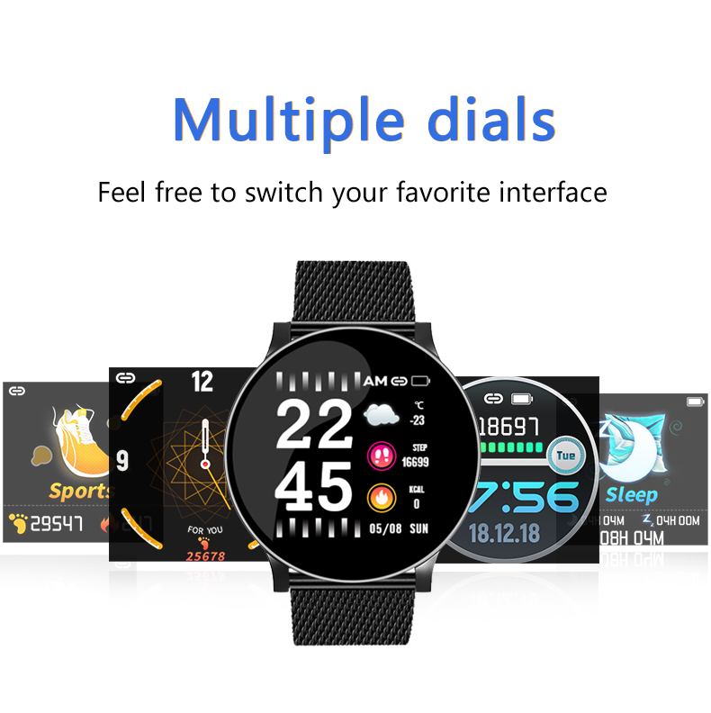 Bakeey W8 Business Style Wristband Heart Rate Blood Pressure Oxygen Test IP67 Smart Watch 8