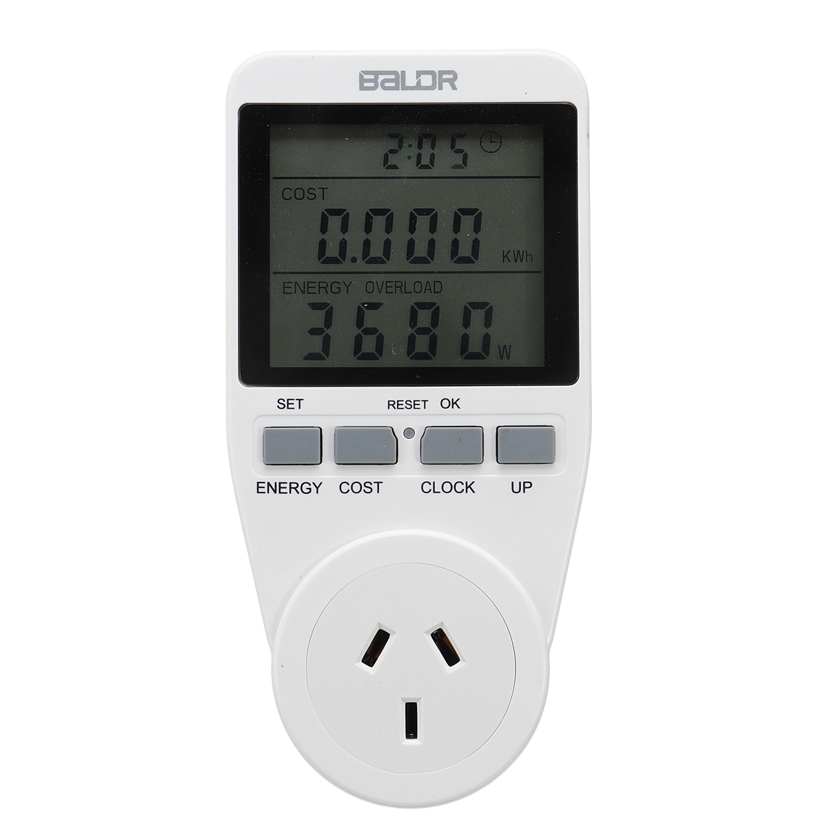 Smart Socket Large Screen Power Monitor Socket AU Plug Record Cumulative Kilowatt-hour Time and Electricity Expenses.