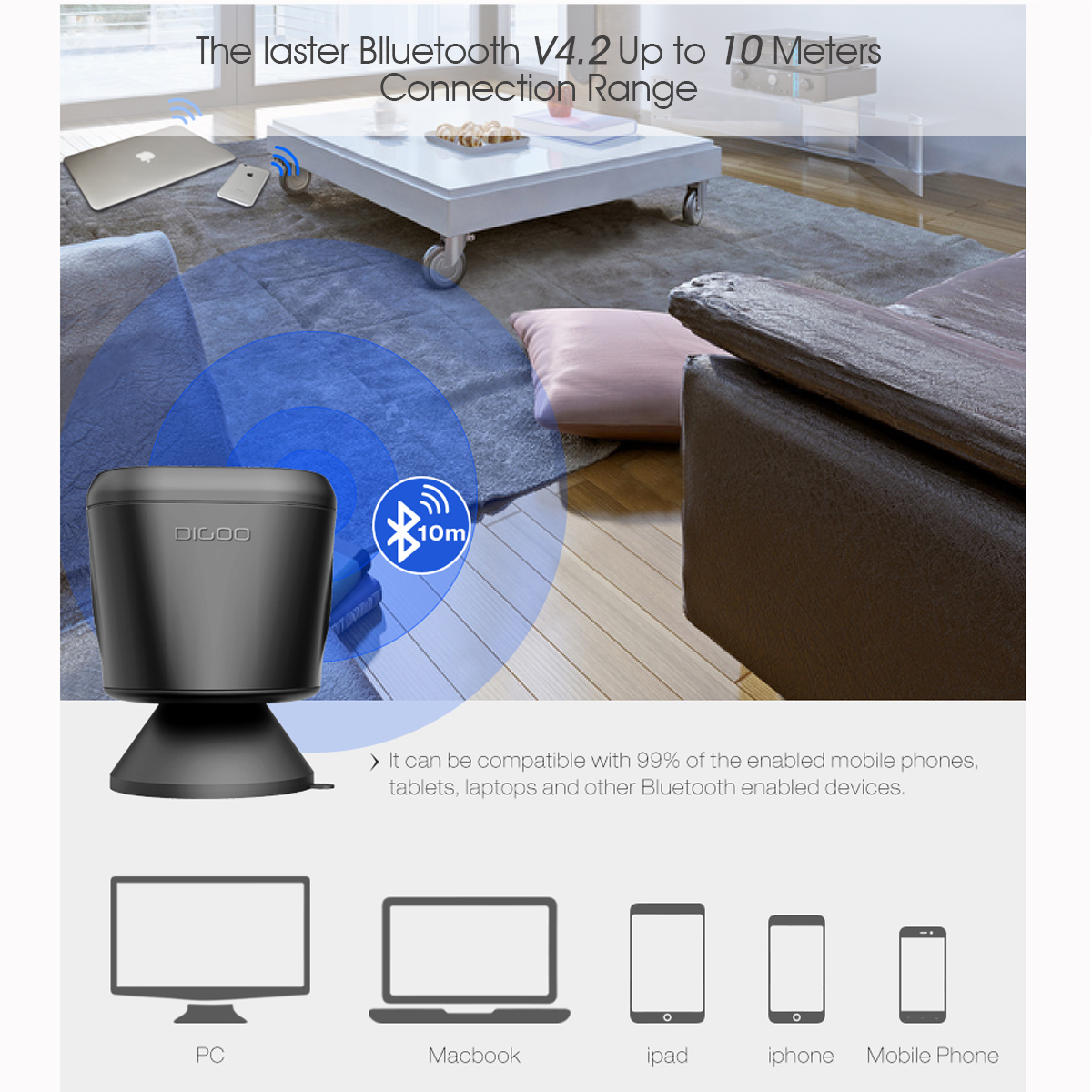 Digoo DG-MX10 Waterproof Wireless TWS Bluetooth Speaker for Home Bathroom Outdoor Party Beach with 3W Enhanced Bass, Bulit-in Mic, Sunction Cup