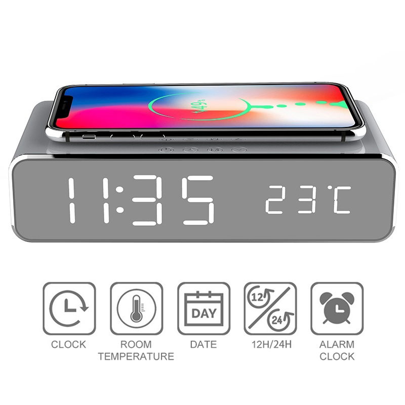 USB Digital LED Desk Alarm Clock With Thermometer And Wireless Charger (Silver) 4
