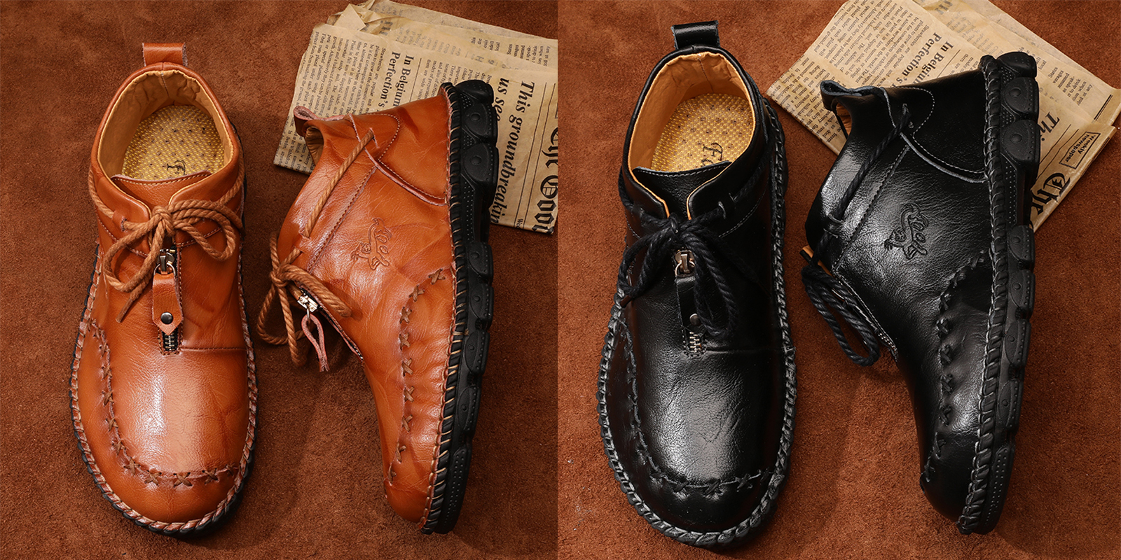 Hand Stitching Leather Large Size Soft Sole Casual Boots