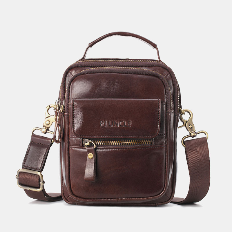 Men Genuine Leather Multi-Pocket Crossbody Bag Handbag