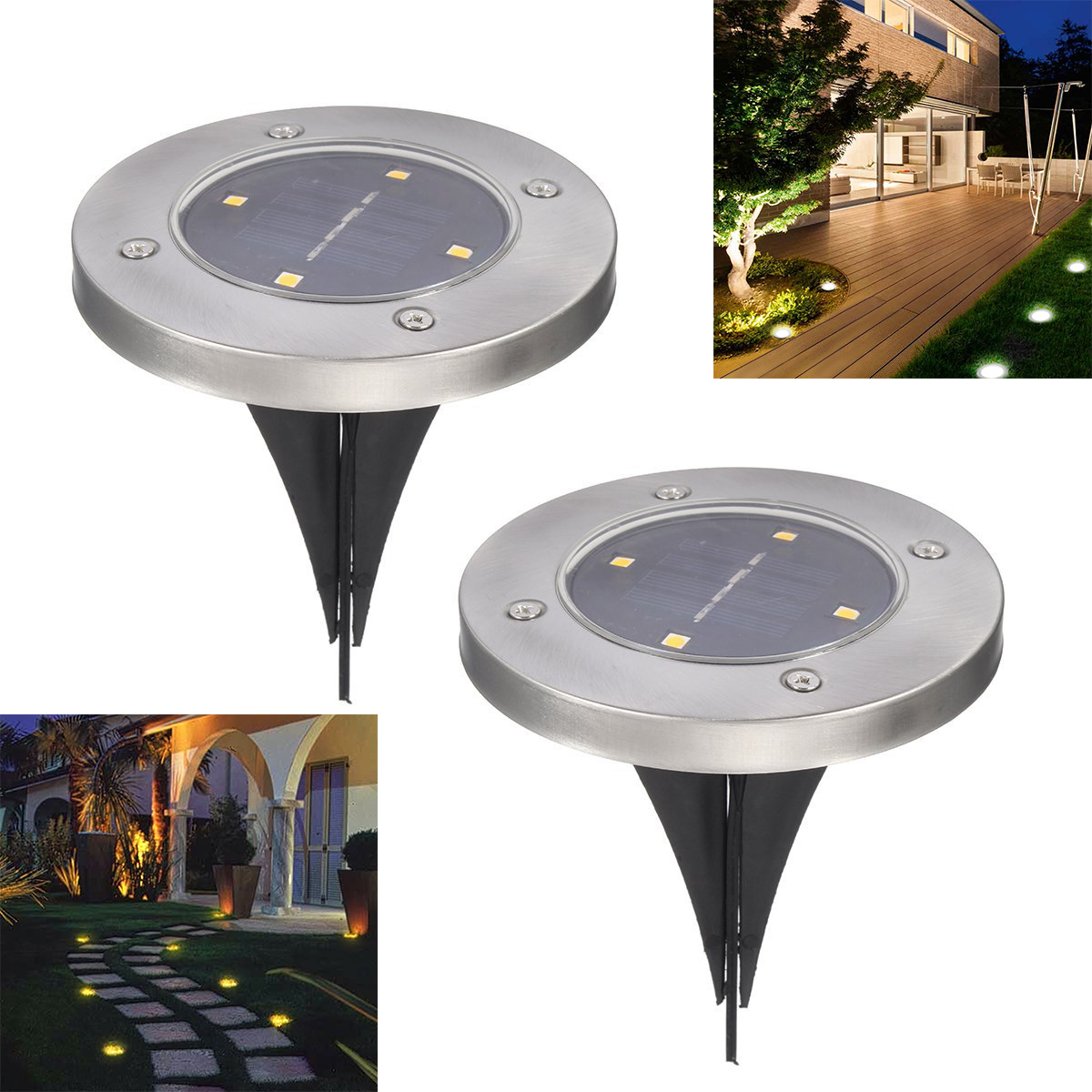 2Pcs 4 LED Solar Powered Buried Light Under Ground Lamp Outdoor Pathway Garden