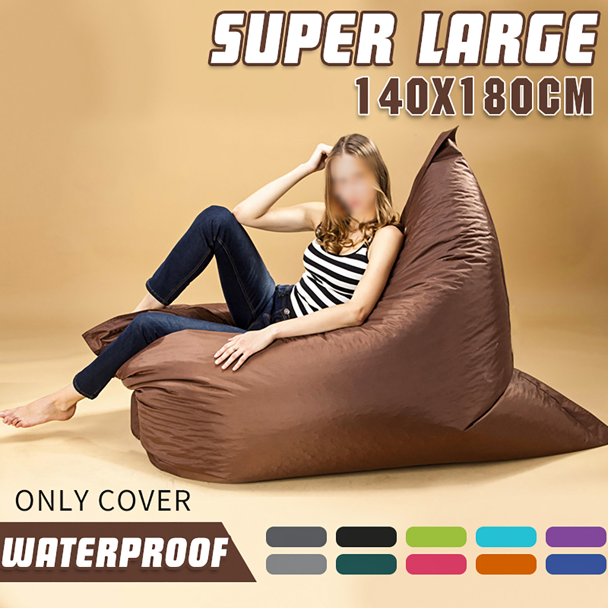 140 * 180 cm XXXL Outdoor Foldable Bean Bag Coat Multicolor Waterproof Oxford Cloth Lazy Sofa