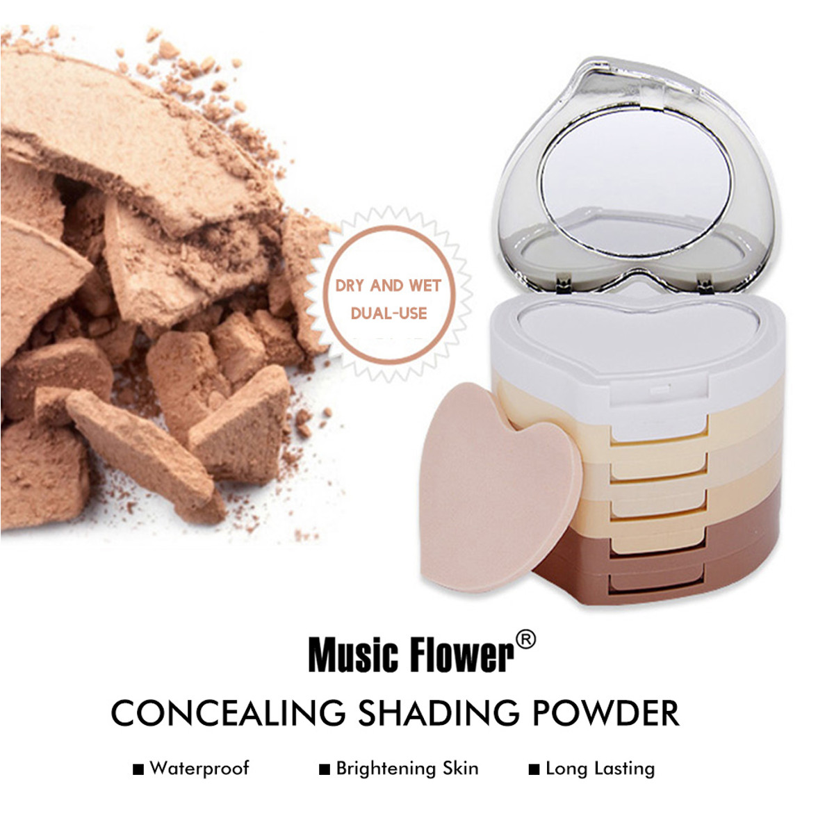 Music Flower 5 in 1 Concealing Shading Powder 24 Hours Long-