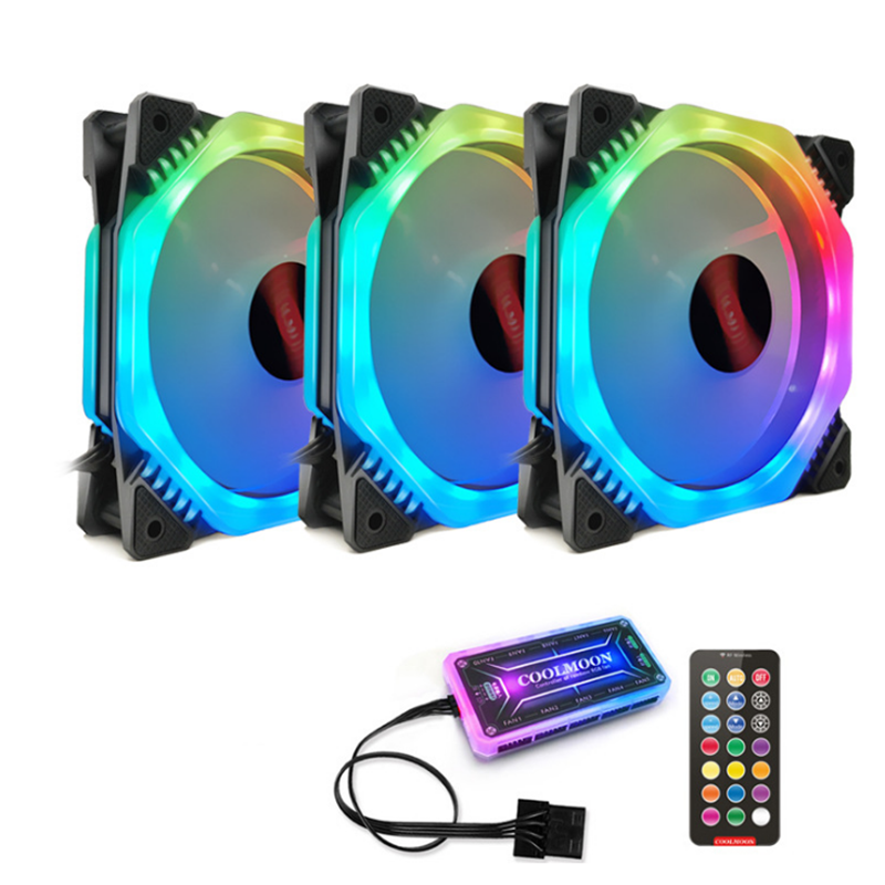 Coolmoon 3PCS 120mm Adjustable RGB LED Light Computer Case PC Cooling Fan with