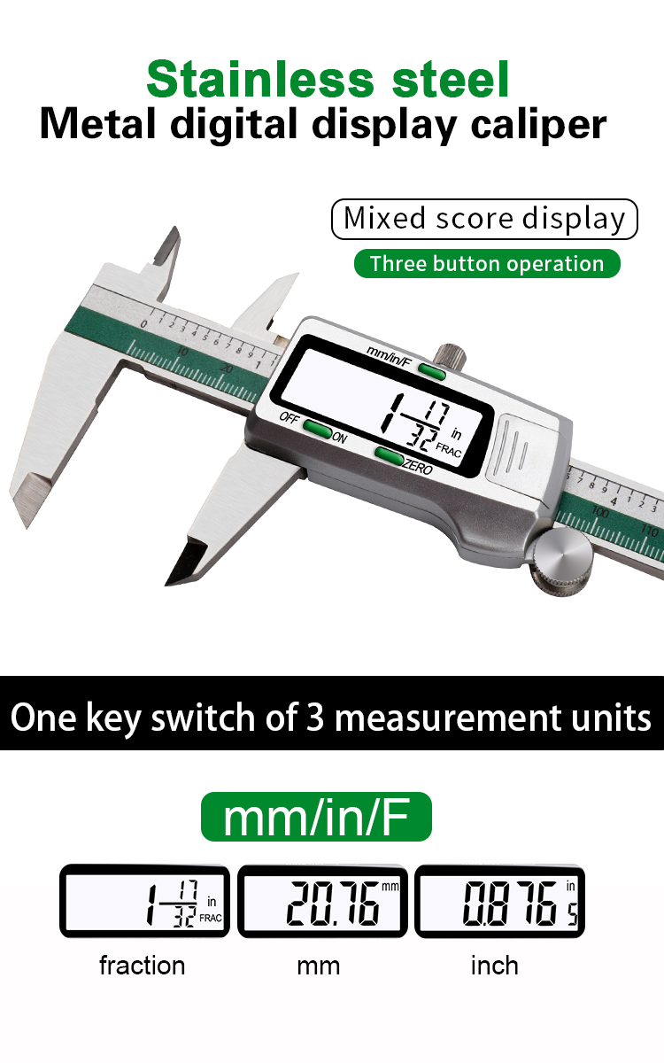3be0ad3b 375f 4683 aa19 5aff95b01bab DANIU Digital Stainless Steel Caliper 150mm 6 Inches Inch/Metric/Fractions Conversion 0.01mm Resolution with Box